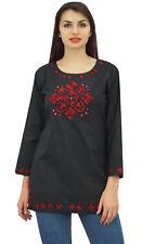 Phagun complet femme manches noir brodé coton haut ethnique Chemises tunique.