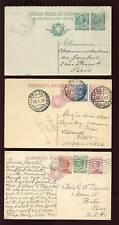 ITALY 1911-23 UPRATED STATIONERY..USA UK PARIS..3 CARDS