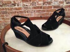 Earth Curvet Black Suede Peep-toe Wedge Sandals New