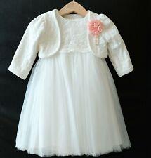 2tlg. Taufkleid + Bolero Festkleid Babykleid Tüll Blumenmädche Gr. 62-98