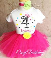 Rainbow Princess Crown Zebra Print 4th Fourth Birthday Tutu Outfit Shirt Set
