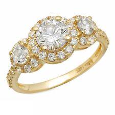 1.65ct Round Cut Halo 3Stone Engagement Wedding Anniversary Ring 14k Yellow Gold