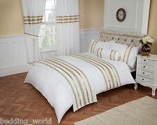 GLITZ WHITE GOLD RIBBON TRIM 200 THREAD COUNT COTTON LUXURIOUS BEDDING