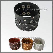 Celebrity Fashion Women Heavy Metal Biker Faux Leather Crystal Studded Bracelet