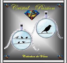 Collier cabochon verre pendentif Oiseaux oiseau  argenté 25mm femme homme ado