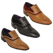 Hombre Piel Sintética Zapatos Oxford Cordones Italiano Punta Afilada Formal