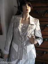 Kostüm Escada Couture Gr. 38 silber Seide Nugget Schlange Phyton edel LUXUS PUR