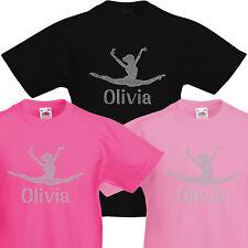 Girl's Gymnast T-shirt Personalised Crystal Dance Leotard kids Gymnastic Varsany