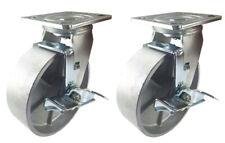 """2 Heavy Duty Caster Set 4"""" 5"""" 6"""" 8"""" Steel Wheels Rigid Swivel Brake Total Lock"""