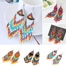 Drop Dangle Handmade Tassel Hook Multicolor Seed Beaded Earrings Bohemia Long
