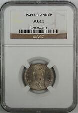 1949 Ireland Six Pence, NGC MS-64