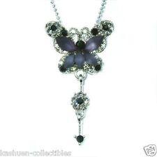 ~BLACK BUTTERFLY  w Swarovski Crystal Bridal Wedding Flower Pendant Necklace New