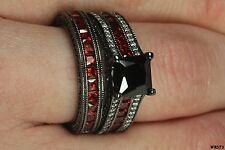 Princess Cut 925 Sterling Silver Red Garnet Accent Engagement Wedding Ring Set