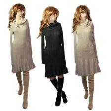 KUSCHELIG Vintage Look Feinstrick Kleid Stiefelkleid Rollkragen Kleid Gr.36 38