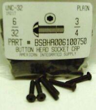 #6-32x3/4 Button Head Hex Socket Cap Screws Alloy Steel Black (42)