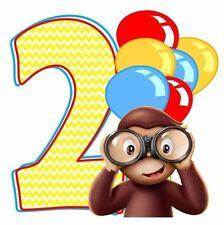 "2-4.5"" CURIOUS GEORGE MONKEY BIRTHDAY 2ND SECOND  CUSTOM  HEAT TRANSFER IRON ON"