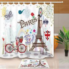 Paris bike and high heels Shower Curtain Bathroom Decor Fabric & 12hooks 71*71in