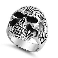Graphic Skull Head Tribal Biker Stainless Steel Fashion Ring Sizes 6-18