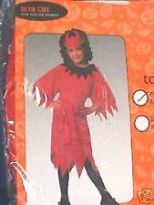 """HALLOWEN - """"RED DEVIL GIRL"""" Costume-Nuovo con confezione-AGE 5-7yrs"""