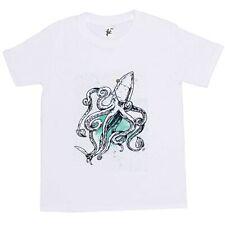Captain Octopus 8 Legs With Patch Earring & Cutlass Kids Boys / Girls T-Shirt
