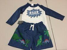 NWT Gymboree Infant Boys Rash Guard Shirt Dinosaur trunk Shorts Set UPF 50+