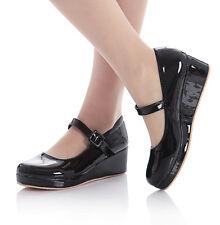 Womens Platform Wedge Heel Fashion Buckle Patent Sweet Mary Jane Pumps Shoes 5-8