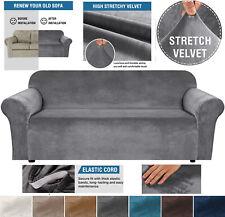 VELVET Elastic STRETCH SOFA COVERS Slipcover Protector Settee 1/2/3/4 Seater