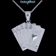 White Gold Royal Flush Pendant Necklace Hearts A K Q J 10 Poker Cards