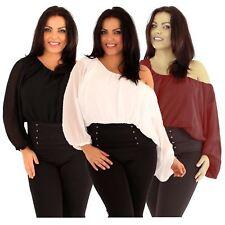 Womens Plus Size Off Shoulder Batwing Kimono Sleeve Chiffon Gypsy Tops