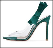 Womens Elegant Clear Peep Toe High Heels Shoes Bowknot Slingbacks Party Shoes Sz