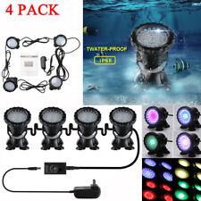 4x Submersible 36 LED RGB Pond Aquarium Spot Lights for Underwater Pool US Plug