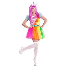 Regenbogen Kleid Einhorn Kostüm Damen Faschingskostüm mit Haarreif Unicorn Fabel