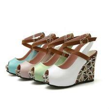 Ladies Sandals Leather Peep Toe Wedge Cross-Strap Slingback Platform Shoes New