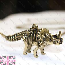 BIG TRICERATOPS pendant NECKLACE dinosaur skeleton KITSCH GOTH gold/silver tone