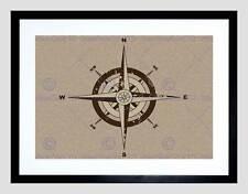 Brújula de navegación ilustración negro de lona impresión de arte enmarcado Foto B12X8091