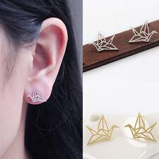 Origami Grúa Stud lindo hueco oreja espárragos pendientes de avesES