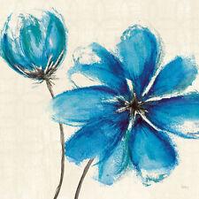 Véronique CHARRON: Azure IV bastidor de cuña - Imagen Lienzo Flores Azul