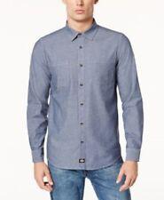 Dickies Mens Chambray Shirt Work Long Sleeve Blue Slim Fit 100% Cotton