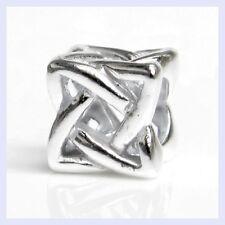 STR Silver Celtic Ribbon Cross Cube Filigree Bead for European Charm Bracelet