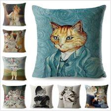 Watercolor Van Gogh Cat Art  Cushion Covers Home Cute Animal Decoration Pillow