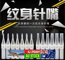 .White Disposable Sterile Tattoo Nozzle Tip Tube Round RT Flat FT w/o Needle AU