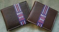 Men's Bacci RFID Blocking Security GENUINE LEATHER Black Brown Bi-fold Wallet