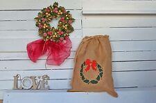 Personalised Santa Sack Christmas Stocking Jute Present Xmas Hessian Wreath