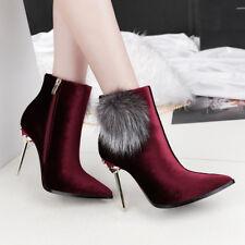 stivali stivaletti bassi stiletto 11 cm caviglia rosso eleganti simil pelle 9546