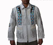 Mens Western Leather Jacket Fringed, Bones and Beaded Eagle Style