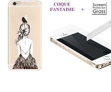 COMBO Carcasa fantasía gel suave fantasía + vidrio templado para el iPhone SE