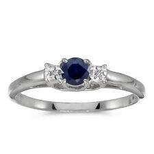 10k White Gold Round Sapphire And Diamond Ring