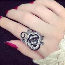 Lady Nice Rose Flower Ring Black Crystal Vantige Big Flower Rings Jewelry Gift J