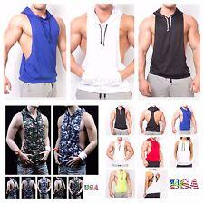 Men's Tank Top Sleeveless Vest T-Shirt Muscle Camo Gym Hoodie Bodybuilding