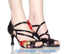 Black Flower Satin Ballroom Salsa Latin Ceroc Dance Shoes Heeled Sandals All SZ
